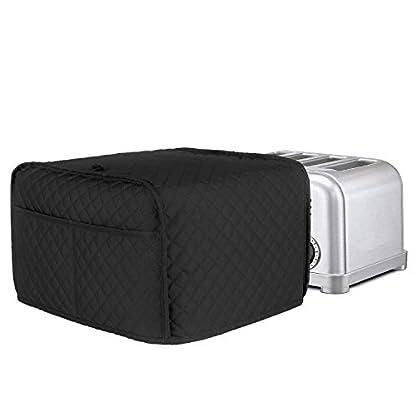 LUXJA-Toaster-Abdeckung-fuer-4-Scheiben-318-x-254-x-203-cm-Toaster-Abdeckung-mit-2-Taschen-passend-fuer-die-meisten-4-Scheiben-Toaster-schwarz-gesteppter-Stoff