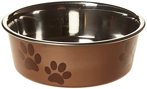 Trixie - Ciotola in acciaio con rivestimento in plastica per cani, Colori Assortiti, 0.25 l, ø12 cm, 1 pezzo