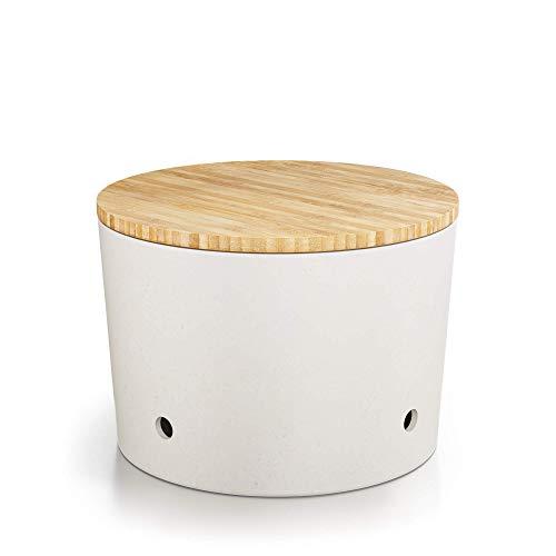 Destyx® Bambus Knoblauchtopf beige mit Bambusdeckel zur Knoblauch Aufbewahrung - Ökologisch aus Holz mit Luftlöchern für lang anhaltende Frische