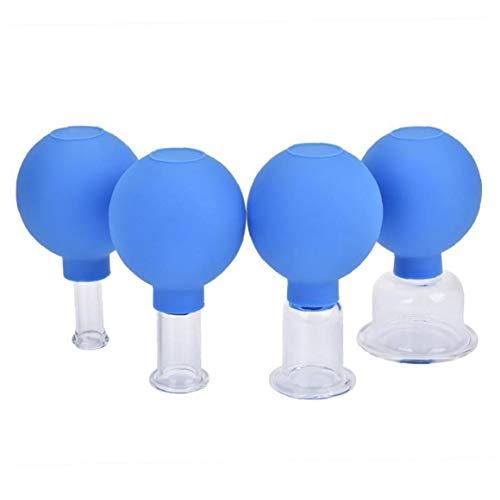 4pcs Ventosas De Vacío Copas Conjunto De Goma Cabeza De Cristal Anti Celulitis Masaje Chino Ahuecando Latas para Masaje Salud