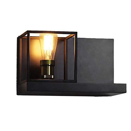 Aplique de pared Marco de la lámpara de pared retro americana creativa pasillo Escaleras lámpara de cabecera retro Industrial viento Cafe hierro Lámpara de pared Decorativa Lámpara de pared