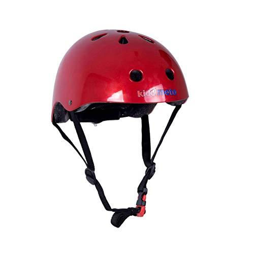 KIDDIMOTO Fahrrad Helm für Kinder - CE-Zertifizierung Fahrradhelm - Design Sport Helm für Skates, Roller, Scooter, laufrad - Metallic Rot - S (48-53cm)