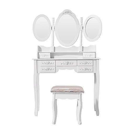 Panana Coiffeuse Meuble en MDF avec Tabouret, 7 Tiroirs et 3 Miroirs Ovale pour Chambre, 90 cm (L) x 39 cm (l) x 145 cm (H), Blanc