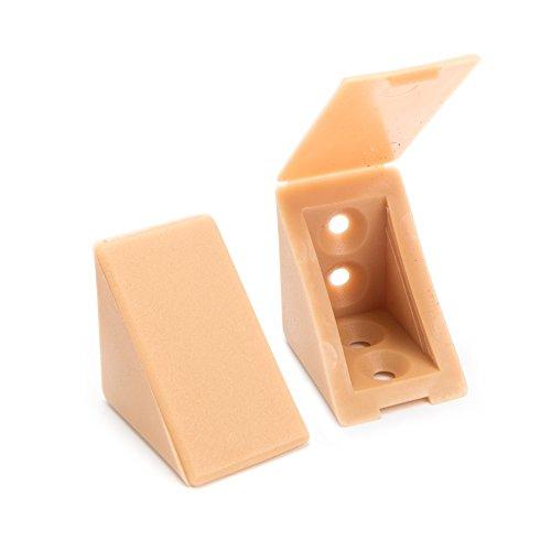80 x Korpusverbinder/Möbelverbinder/Eckverbinder mit Abdeckklappe | Sossai® BT1, 4-Loch | Farbe : Buche | Material : Kunststoff