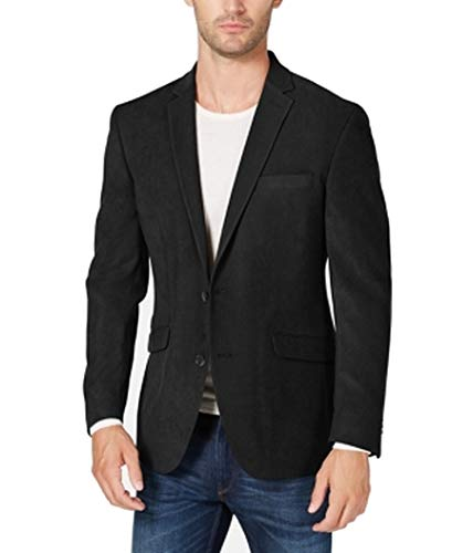 Kenneth Cole REACTION Mens Faux Suede Slim Fit Sportcoat Black 40R