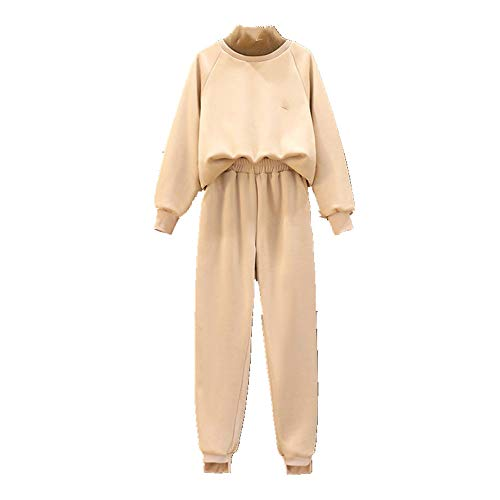 Sportswear - Conjunto de dos piezas para mujer, cuello alto, holgado, informal, de invierno