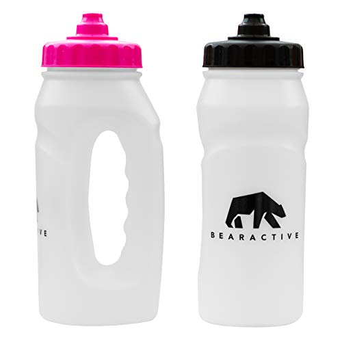 Bearactive 2 x Running Bottle Lightweight 500 ml Handheld Sports Water Bottles with Valve Sprout BPA Free Plastic and Leak Proof Runners Hand Grip Bottle for Jogging Hiking Gym Black Pink