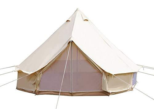 Sport Tent-Wasserdicht Schimmelresistent Tipi Zelt (Teepee) Indianerzelt 3-12 Personen aus Baumwolle Große Luxus Camping Zelt Ideal für Urlaube Feste Feiern Hochzeit 3M Beige