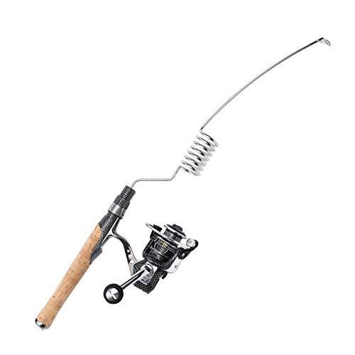Emmrod Elastic Fishing Rod and Reel Combos 1000 Type All Metal Spinning Wheel Cork Handle Sea Pole Ultra Short Portable Fishing Rod MZ-7C-SG