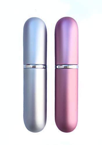 Titokiwi Lot de 2 vaporisateurs de parfum - 6 ml - Avec entonnoir (rose/argent mat)