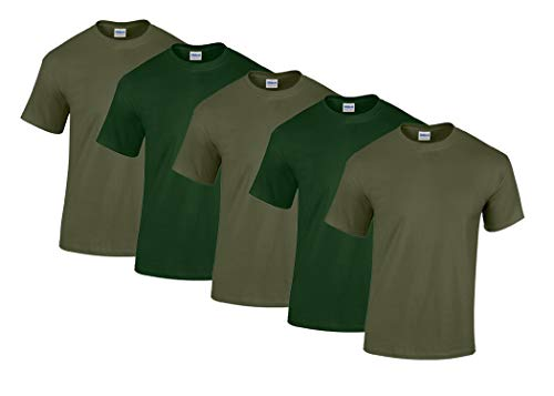 Gildan 5 Stück Heavy Cotton T-Shirt Herren Shirt S - 3XL Schwarz Weiß (XXL, 3Military/2ForestGreen)