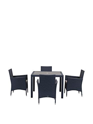 Safavieh Amalfi Tisch Und Stühle, 4-Teiliges Set Für Den Garten, Rattan, Grau, 100 x 100 x 74 cm