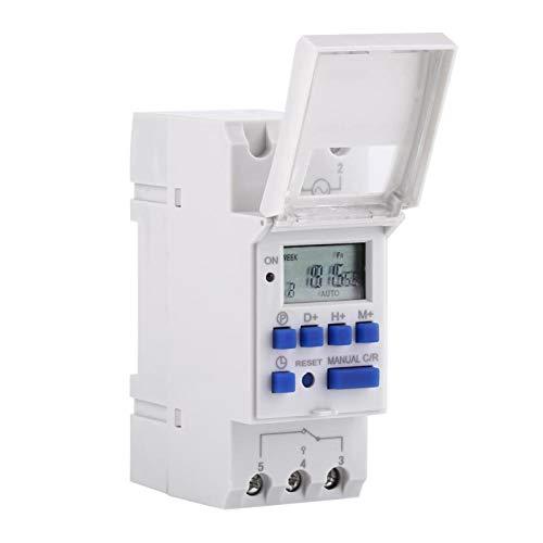 Programador de tiempo eléctrico, temporizador, relé, interruptor de tiempo, pantalla LCD, luz de fondo, preestablecido semanal, programable(220V)