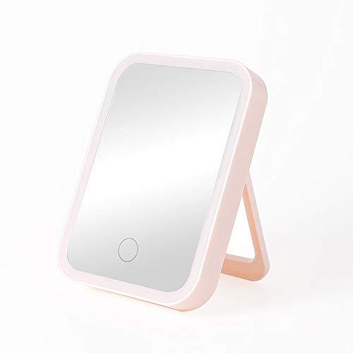 Lamcomt Espejo de maquillaje LED recargable con luz de escritorio, plegable, portátil, montado en la pared, espejo de maquillaje para dormitorio, baño, sala de estar, oficina, polvo (color: rosa)