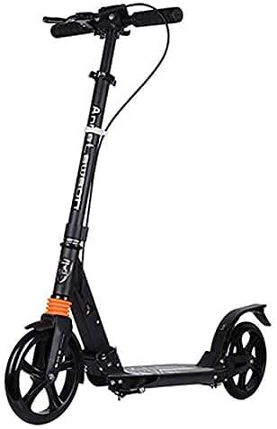 QIXIAOCYB Portátil Big Wheel Scooter para niños y Adultos Principiante Smooth Scooters Scooters Freestyle Comutador Adulto con Fender Fender Freno Classic Scooter Blanco (Color : Black)