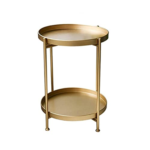 JINPENGRAN Coffee table, mini coffee table, simple wrought iron double-layer small coffee table, living room mini sofa side table, can be used indoors, outdoors, gardens, etc.