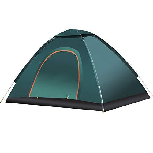 thematys Outdoorzelt leichtes Pop Up Wurfzelt Zelt in Orange-Grün mit Tragetasche - perfekt für Camping, Festivals und Urlaub (1-2 Personen)
