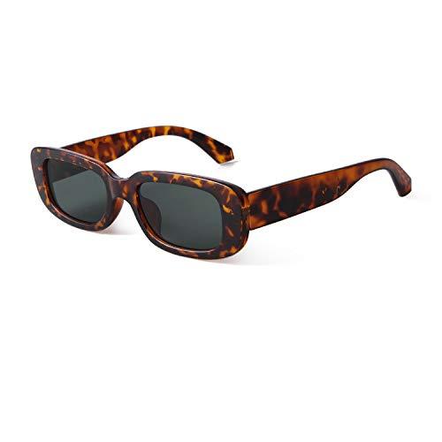 ADEWU Mode Sonnenbrille Rechteckig Retro Schmale Brille mit UV Schutz Sunglasses für Damen Herren (S-dunkelleopard)