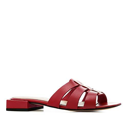 Andres Machado - Sandalen/Sandaletten mit Absatz für Damen/Mädchen - Noelia – Sabots aus Leder mit Blockabsatz – Made in Spain - Rot, EU 43