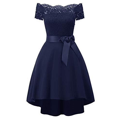 Dicomi Damen V-Ausschnitt Kurz Brautjungfer Kleid Cocktail Party Floral Kleid mit Bandage Blau XL