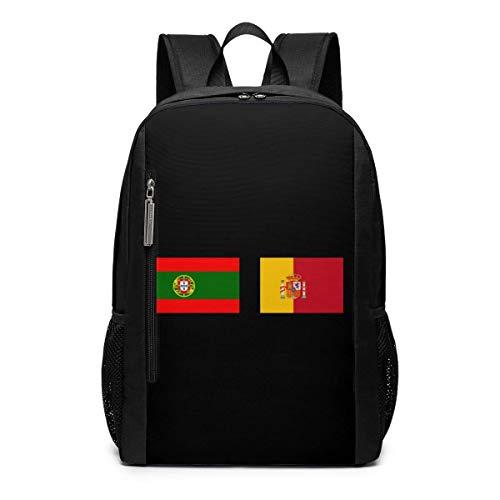 AOOEDM Bolsa para la Escuela Backpack 17 Inch Portugal y España Banderas Mochila para portátil de Viaje al Aire Libre Accesorios de Viaje, Mochila de Moda Adecuada para 17 Pulgadas