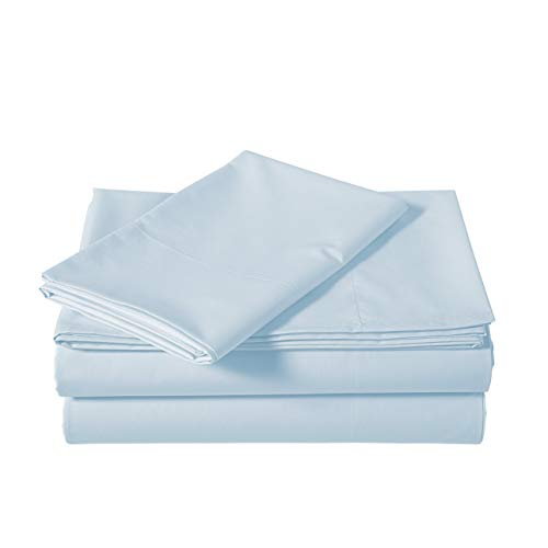 AmazonBasics Lightweight Percale Cotton Sheet Set - Twin, Blue Pastel