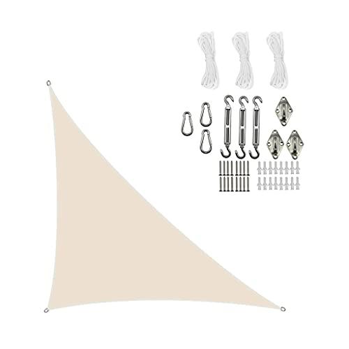 [2021 Modelo] Toldo El Toldo Es Un Triángulo Equilátero, Triángulo De ángulo Derecho Al Aire Libre Impermeable Y Duradero Oxford Twning, Muy Adecuado Para Terraza(Size:3.6*3.6*3.6m,Color:Blanco crema)