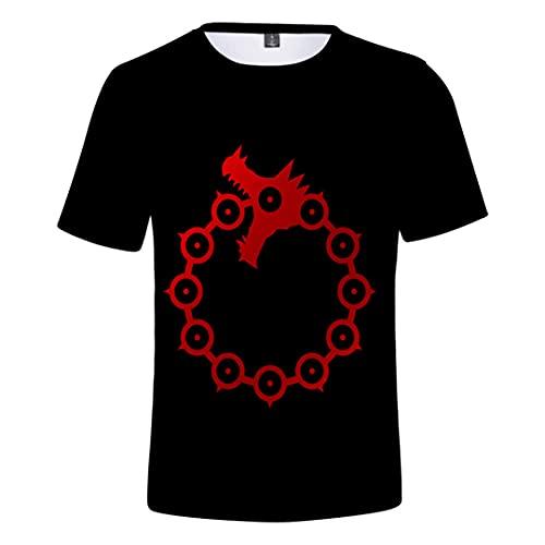 T-Shirt Seven Deadly Sins T-Shirt Animé 3D Imprimé Cosplay Japonais Tops Tee Casual col Rond T-Shirt à Manches Courtes T-Shirt de Fête pour Homme, Femme,A,4XL
