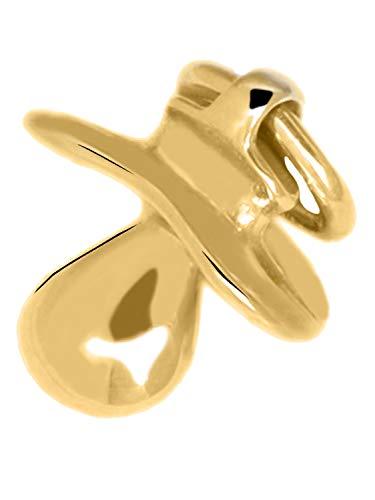 Schnuller Anhänger (Ohne Kette) Gelbgold 585 Gold (14 Karat) Massiv Gegossen 15mm x 11mm Goldanhänger Babyshower Babygeschenk Geburt Babyloving V0004013