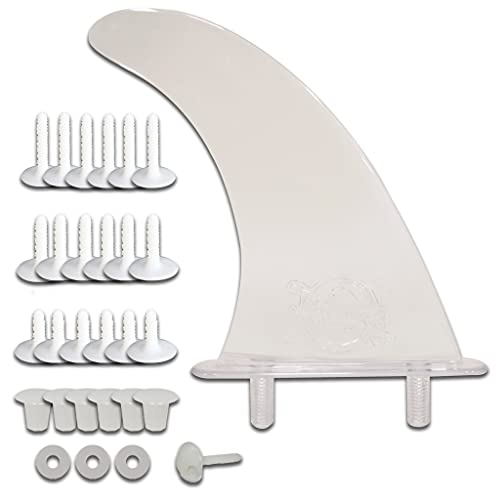 """South Bay Board Co. - Soft Top Surfboard 9"""" Stealth Fin - Complete Foam Surfboard Fin & Plugs Kit - Upgrade for Beginner Boards - Durable Molded ABS with Universal Screw-in Base in Clear"""