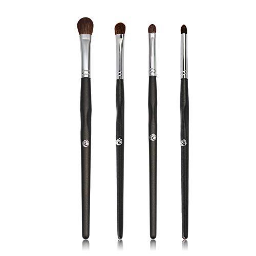 BGcrsl Pinceaux de Maquillage pour Les Yeux 4pcs Pinceaux de Maquillage de Fard à paupières avec des Poils synthétiques Doux Poignée en Bois véritable pour Fard à paupières