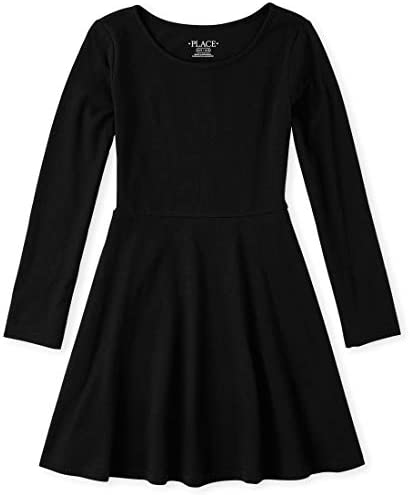 The Children s Place Girls Big Solid Long Sleeve Pleated Knit Dress Black S 5 6 product image