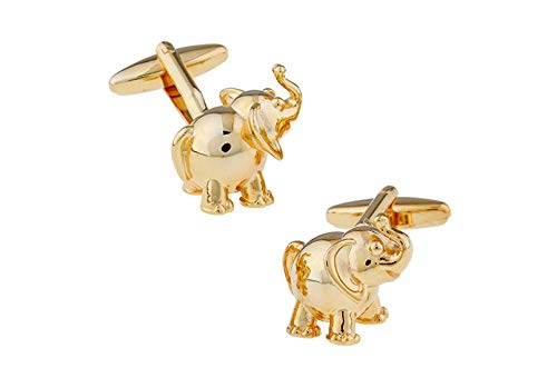 ESCYQ Gemelli Uomo,Unisex Gemelli Animali Elefante Moda Oro Semplice Bracciali Gemelli Business Matrimoni Sposo Accessori Blazer