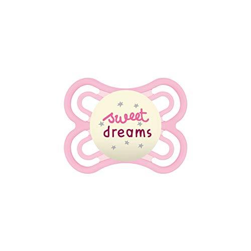 MAM Perfect Night 0-6 Schnuller, beugt Zahnfehlstellungen vor, besonders dünner & flexibler Silikonschnuller, leuchtet im Dunkeln, ab der Geburt, rosa