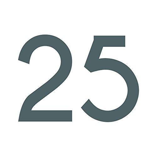 1peak Zahlenaufkleber Nummer 25, Silber, 5cm (50mm) hoch, Aufkleber mit Zahlen in vielen Farben + Höhen, wetterfest