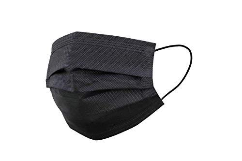 30er Spenderbox 3-lagig Einweg Mund- Nasen- Masken - Mit Nasenbügel - Frei von Fiberglas - Schwarz