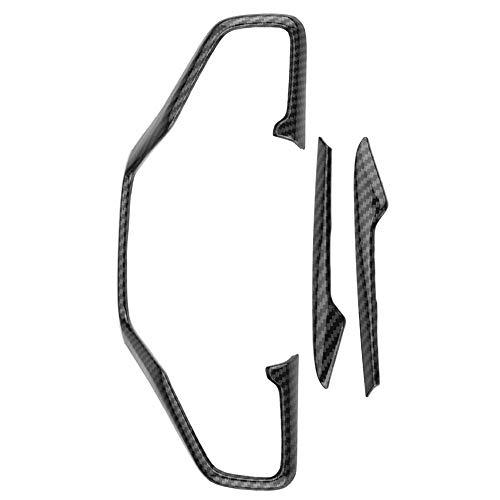 3 piezas de fibra de carbono estilo cubierta del marco del volante del coche ajuste para Honda Civic 10th 16-18 negro