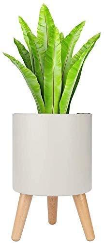 Ailrini – Maceta inteligente – Diámetro 18,5 cm 3 L – Maceta para plantas exteriores e interiores con madera, soporte, alarma de penuria de agua/sistema de riego y drenaje, color blanco