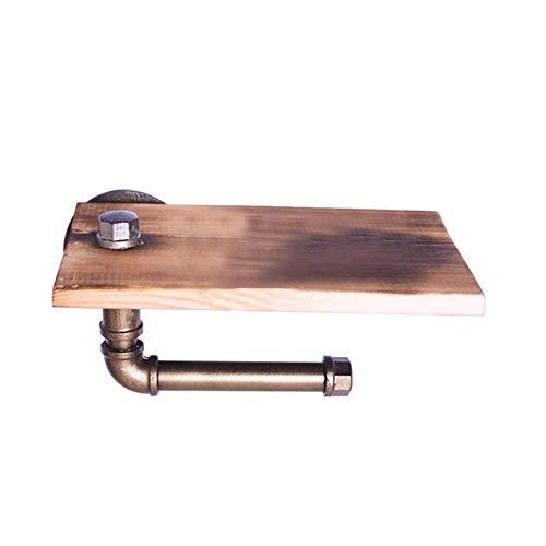 Op zwaar werk berekende papierhouder Home Gietijzeren pijp Eenvoudig te installeren opbergrek 2 in 1 badkamer Wc rustiek met schroef Houten plank, 1
