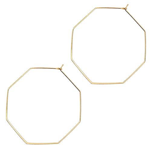 wowshow Geometric Hoop Earrings Hexagon Octagon Earrings Thin Gold Hoops