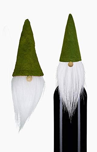 Flaschendeko Wichtelmütze mit Bart Grün - 3 Stück im Set – Weihnachtswichtel als Tischdeko Weihnachtsdeko Geschenkverpackung zu Weihnachten. Skandinavischer Winterwichtel mit Filz Zipfelmütze