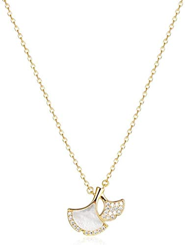 ZSW Necklaces S925 Silver Skirt Ginkgo Leaf Shell Necklace Sparkle Halo Necklace With Cubic Zirconia Pendant Female Clavicle Chain 17.5 Jewelry