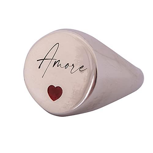 Remo Gammella Anillo de mujer personalizado de plata 925 bañada en oro blanco con corazón rojo. Anillo de nombre. Joya hecha a mano en Italia. Tamaño ajustable