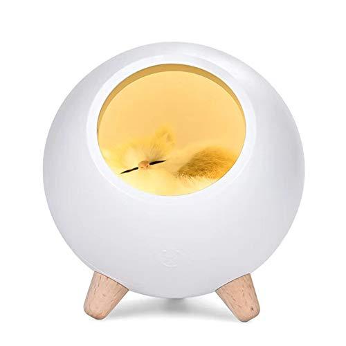 Nachttischlampe LED Tischlampe Nachtlicht Süße Katze Kugel Design Schlummerleuchte Nacht Tischlampe kabellos Batteriebetrieben aufladbar tragbar mit Touch Dimmer,ABS und Kunst Katze,Weiß Licht (Weiß)