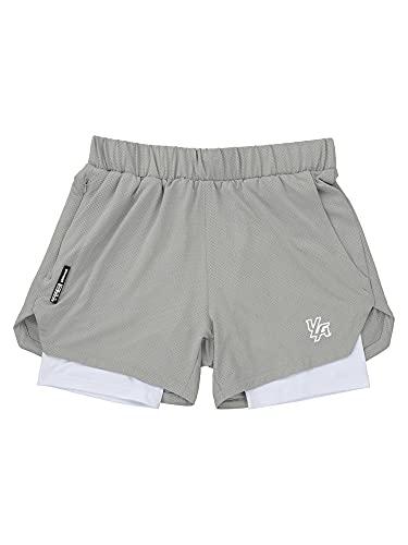 DELIMALI Pantalones cortos para hombre, doble capa de empalme de cintura elástica media pantalones cortos deportivos con cremallera lateral