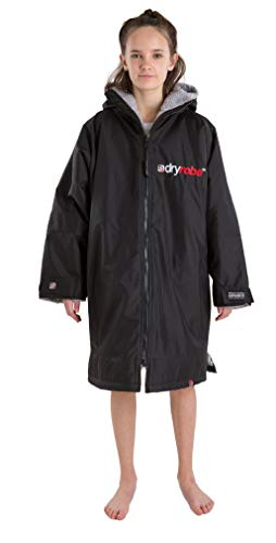 Dryrobe Advance LONG SLEEVE Change Robe - Stay Warm and Dry - Windproof Waterproof Oversized Poncho Coat - Swimming/Surfing/OCR Events (Medium - Black/Grey)
