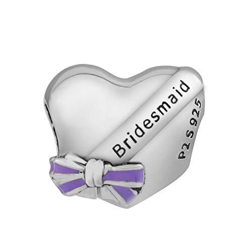 Pandora 925 Sterling Silver DIY Jewelry CharmFashion los mejores encantos del corazón de las damas de honor se adapta a las pulseras de cuentas de Europa para hacer joyas y baratijas