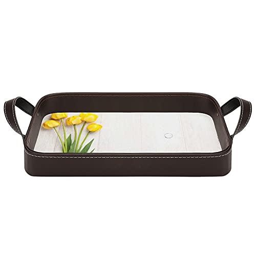 bandeja de cuero,bandeja de tocador decorativa,Coloridos tulipanes en un tablero amarillo de madera blanca rústica con tema,Bandeja de utilidad Oficina en casa Viaje Café Ba