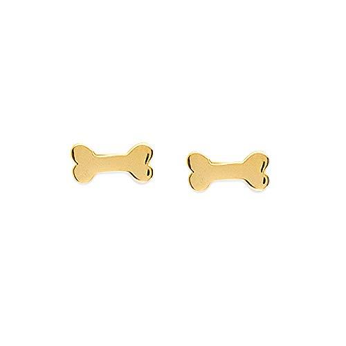 Pendientes de oro amarillo de 14 quilates con forma de hueso de perro