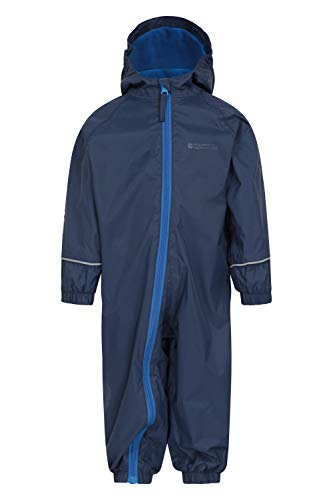 Mountain Warehouse Spright Printed Rain Suit - Breathable Suit, Waterproof Coat, Quick Dry, Taped Seams Kids Raincoat, Fleece Lined - for Travelling Navy 6-12 Months